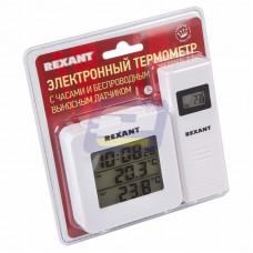 Термометр электронный с часами и беспроводным выносным датчиком