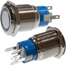 Кнопка антивандальная OFF-(ON) 19мм фикс/подсветка синяя