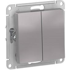 ATLASDESIGN Выключатель двухклавишный алюминий Schneider Electric