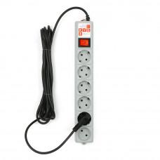 Фильтр сетевой 5+1гн.3м серый 10А 2.2кВт POWER CUBE SPG(5+1)-B-10