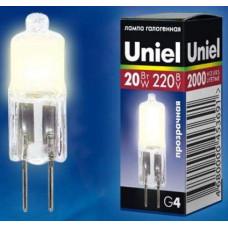 Лампа галогенная капсульная G4 220В 20Вт JC-220/20/G4 CL Uniel