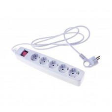 Фильтр сетевой 5гн.5м белый 10А 2,2кВт с/з с выкл.ПВС 3x0,75мм2 USF-5es-5m-W ЭРА