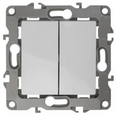 Механизм выключателя 2 кл.б/м.лапок 10АХ-250В белый ЭРА