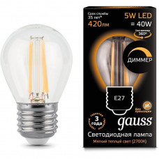 Лампа светодиод.ШАР 5Вт E27 2700К филамент ДИММЕР Gauss