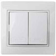 Intro Plano выключатель 2 кл.10АХ-250В СУ белый 1-104-01