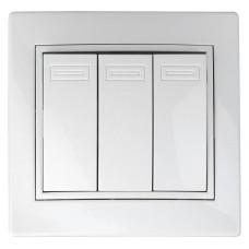 Intro Plano выключатель 3 кл.10АХ-250В СУ белый 1-106-01
