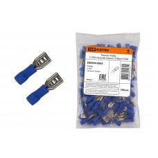 Разъем РпИм 2-250 плоский (мама) синий (100шт) TDM
