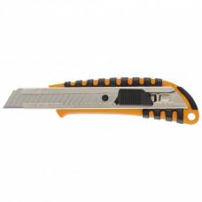 Нож 18 мм выдвижное лезвие металлическая направляющая пластиковый двухкомпонентный корпус Sparta