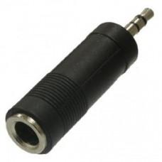 Переходник штекер стерео 6,3 мм - гнездо стерео 3,5 мм пластик REXANT