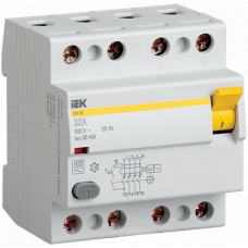 Выключатель диф. тока 4п 63A 30mA тип AC ВД1-63 ИЭК MDV10-4-063-030