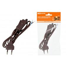 """Шнур с выключателем и плоской вилкой ШУ01В ШВВП 2х0,75мм2 2м, коричневый """"ЭКО"""""""