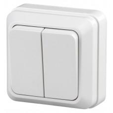 2-104-01 Intro Quadro выключатель 2 кл 10А-250В IP20 ОУ белый