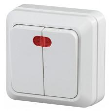 2-105-01 Intro Quadro выключатель 2 кл с подсветкой 10А-250В IP20 ОУ белый