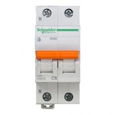 Выключатель автомат. 2P C 6А ВА 63 Домовой 4,5 кА Schneider Electric