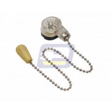 Выключатель д/настенного светильника c дерев/наконечником серебро Rexant
