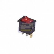 Выключатель кл.12В 15А (3с) ON-OFF красный с подсветкой Mini (RWB-206-1, SC-768)