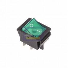 Выключатель кл. 250V 16А (4с) ON-OFF зеленый с подсветкой (RWB-502, SC-767, IRS-201-1)