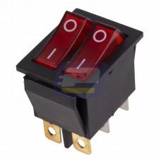 Выключатель кл. 250В 15А (6с) ON-OFF красный с подсветкой двойной (RWB-511, SC-797)