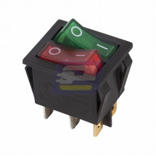 Выключатель кл. 250В 15А (6с) ON-OFF красн/зелен. с подсветкой двойной (RWB-511)