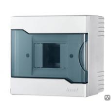 Lezard бокс (корпус) пластик ЩРВ-П-8  8 мод. встраиваемый БЕЛЫЙ с дымчатой дверцей IP40 730-1000-008
