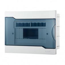 Lezard бокс (корпус) пластик ЩРН-П-4  4 мод. навесной БЕЛЫЙ с дымчатой дверцей IP40 730-2000-004