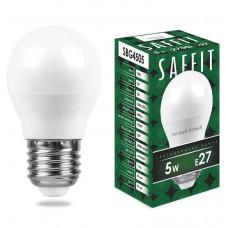 Лампа светодиод.ШАР 5Вт E27 2700K 400Lm матовый SAFFIT мини SBG4505 Feron