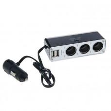 Разветвитель авто в гнездо прикуривателя 3 выхода + 2 USB