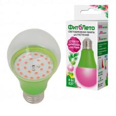 Фито лампа св/д для рассады и растений A60 E27 8W 11мкм/с прозр. 60X110 LED-A60-8W/SPSB/E27/CL