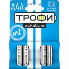 Элемент питания алкалиновый ТРОФИ LR03 ААА1,5В 4шт/блистер