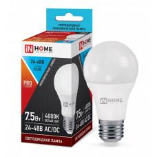 ASD/InHome ЛОН низковольтная A60 E27 24-48V 7,5W(800lm) 4000К 4K 110x60 пластик/алюм LED-MO 1521