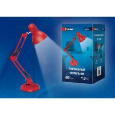 Светильник настольный TLI-221 60W E27 металл красный, подставка+струбцина Uniel