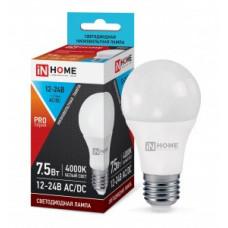 ASD/InHome ЛОН низковольтная A60 E27 12-24V 7,5W(600lm) 4000К 4K 110x60 пластик/алюм LED-MO 1545