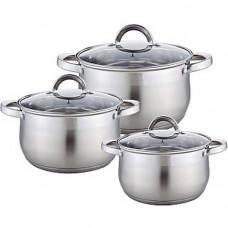 Посуда ВЕ-616/6 6 предметов (Кастрюли 2,1л,2,9л,3,9л со стеклянными крышками)
