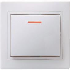 КВАРТА Выключатель одноклавишный скрытый белый с индикацией в сборе