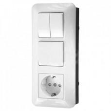Блок 2кл +1кл+розетка с/з белый БК2ВР-008А-б Schneider Electric/Прима
