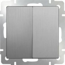 Модуль выключателя WERKEL 2кл. серебро рифленый (10)